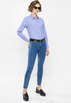 Jacqueline de Yong - Renna long sleeve shirt - blue & white