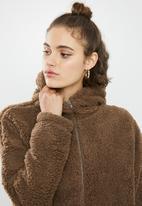 Missguided - Borg zip through long sleeve hoodie - brown