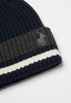 POLO - Earl stripe ribbed beanie - navy