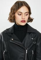 Missguided - Ultimate boxy biker jacket - black