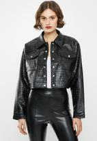Missguided - Faux croc cropped jacket - black