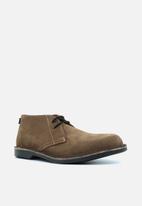 Veldskoen - Heritage suede vellie boot - safari black & brown