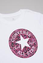Converse - Converse girls chuck patch leopard elong - white