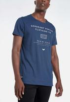 S.P.C.C. - Fulton side slit logo tee - blue
