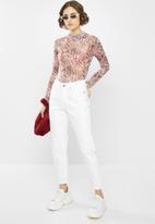 Missguided - Snake print high neck mesh long sleeve bodysuit - pink & black