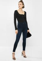 Missguided - Ribbed button front bodysuit - black