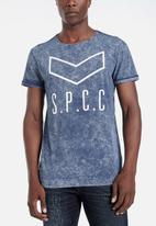 S.P.C.C. - Clark white wash side slit logo tee - blue