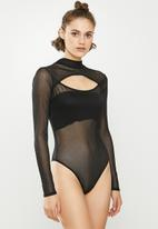 Missguided - Cut out detail high neck long sleeve body - black
