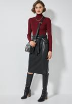 Superbalist - Faux leather paperbag pencil skirt - black