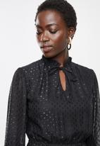 edit - Metallic dobby tiered dress - black
