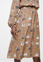 edit - Long sleeve neck tie peasant swing dress - multi