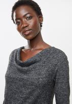 edit - Cowl neck cut & sew top - charcoal