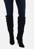 Sissy Boy - Buttoned up long boot with button detail - black