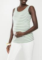 Cotton On - Maternity everyday gathered side tank serena stries - green & white