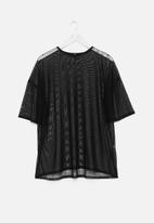 Missguided - Plus size black mesh oversized T-shirt - black