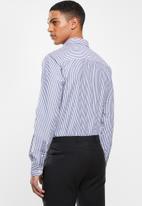 Pringle of Scotland - Blake long sleeve styled  shirt - navy & white