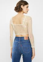 Missguided - Lace bow detail crop top - cream