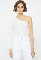 Missguided - Recycled rib puff sleeve one shoulder top - white