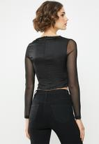 Missguided - Lace up long sleeve corset style top - black