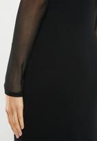 Missguided - Mesh sleeve bodycon midi dress - black