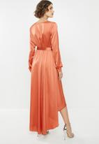 Missguided - High low wrap midi dress long sleeve - rust