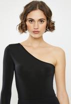 Missguided - One shoulder unitard playsuit - black