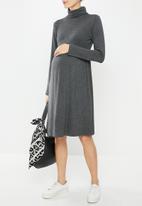 Superbalist - Maternity babydoll poloneck dress - charcoal melange