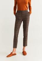 MANGO - Check print trouser - brown