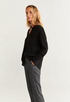 MANGO - Check detail trousers - grey