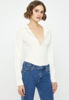 Missguided - Collar detail long sleeve bodysuit - white