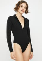 Missguided - Collar detail corset long sleeve bodysuit - black
