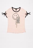 Rebel Republic - Girls tie sleeve tee - pink & black