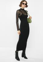 Missguided - Ribbed strappy midi dress - black