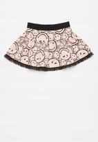 POP CANDY - Printed fleece skirt - pink & black