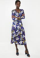 edit - Mock wrap tiered midi dress - multi