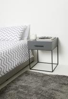 Sixth Floor - Hudson 1 drawer bedside table - storm grey