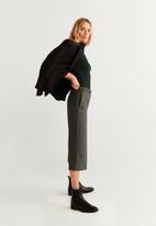 MANGO - Cropped wide leg trousers - grey
