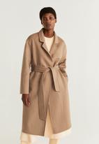 MANGO - Coat batin - brown