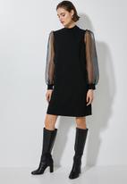 Superbalist - Puff sleeve shift dress - black