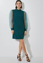 Superbalist - Puff sleeve shift dress - emerald