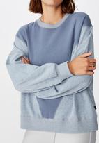 Cotton On - Blocked fleece crew top - storm blue splice