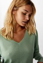 Cotton On - Soft waffle sleep top - smoke green