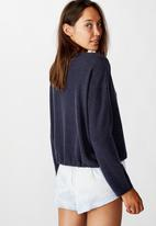 Cotton On - Super soft draw cord crew - navy baby marle
