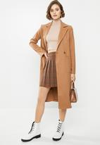 Blake - Melton double breasted coat - brown