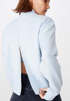 Cotton On - Zip back fleece crew - skye blue