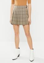 Blake - Check wrap skirt - brown