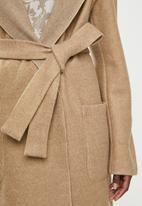 edit - Hooded collar melton coat - brown