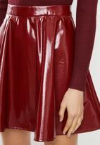 Blake - Vinyl skater mini skirt - burgundy