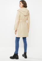Blake - Hooded melton coat - oatmeal