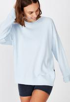 Cotton On - Long sleeve fleece crew top - winter skye blue marle